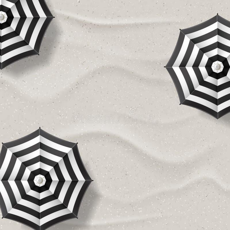 Vector реалистическая иллюстрация пляжа с белым песком и черных белых striped зонтиков Предпосылка летних каникулов взгляд сверху иллюстрация штока