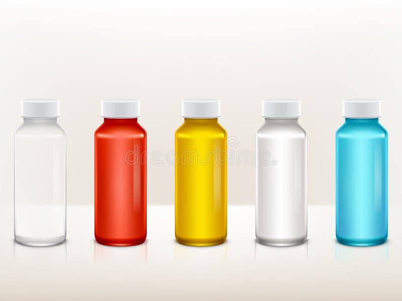 Vector реалистическая пластичная медицинская, комплект бутылки краски иллюстрация штока