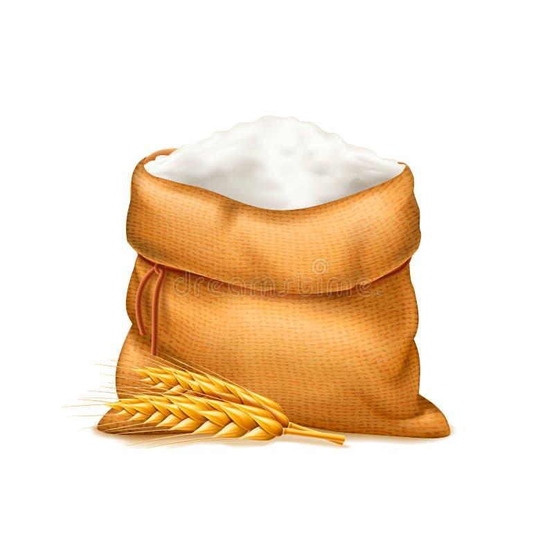 Vector реалистическая сумка муки при уши пшеницы изолированные на белой предпосылке Куча муки вектор изображения иллюстрации элем бесплатная иллюстрация