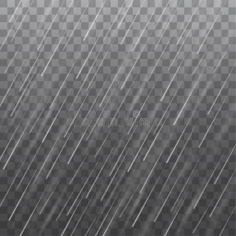 Vector реалистическая текстура проливного дождя изолированная на прозрачной задней части иллюстрация вектора