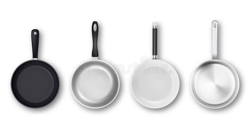 Vector реалистическая 3d пустая чернота, серебр, не-ручка, эмаль, белый изолированный комплект значка сковороды поверхности крышк иллюстрация штока
