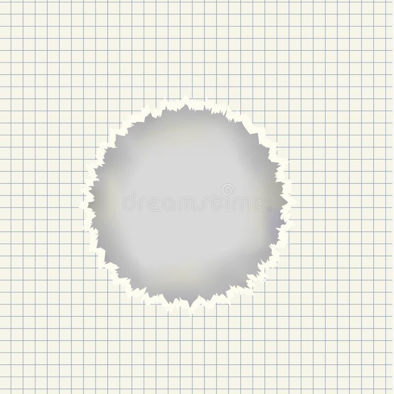 Vector реалистический лист с сорванным отверстием в центре иллюстрация вектора