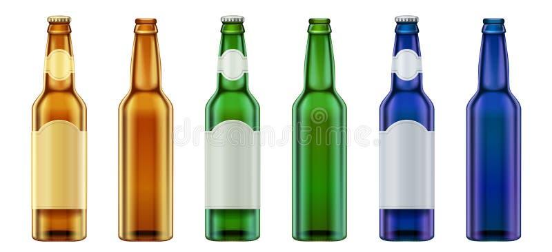 Vector реалистический пустой комплект зеленых, желтых и синего стекла пивной бутылки дизайна иллюстрация вектора