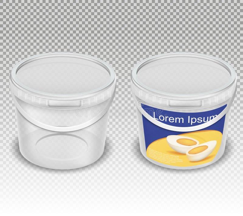 Vector реалистическая иллюстрация пустых пластичных прозрачных ведер для продуктов питания иллюстрация штока