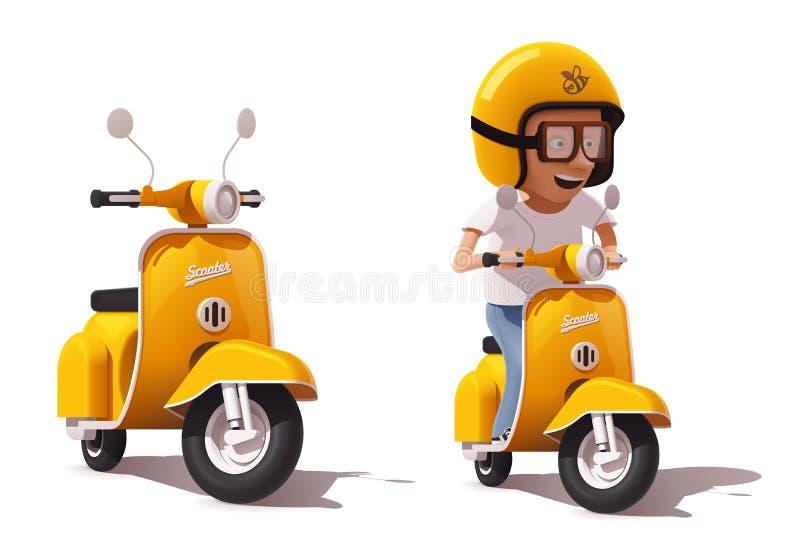 Vector реалистический винтажный желтый значок самоката и водителя самоката бесплатная иллюстрация
