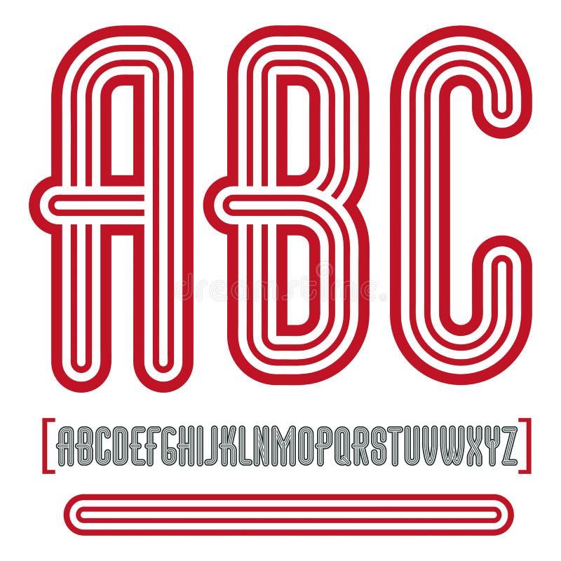 Vector ретро винтажные прописные письма английского алфавита, colle abc иллюстрация вектора