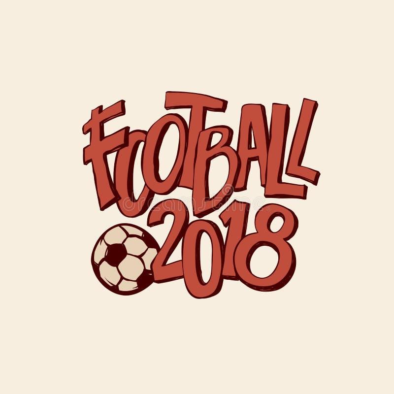Vector ретро искусство футбола с чемпионатом 2018 шарика Иллюстрация плана печати signage стиля спорта винтажная иллюстрация штока
