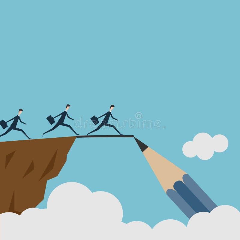 Vector рисовать мост и завоевывать концепцию дела невзгоды как группа людей бежать от одной скалы к другим с иллюстрация штока