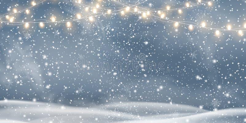 Vector рождество ночи, ландшафт с светлыми гирляндами, снег Snowy, снежинки, сугроб счастливое Новый Год Зима праздника иллюстрация штока