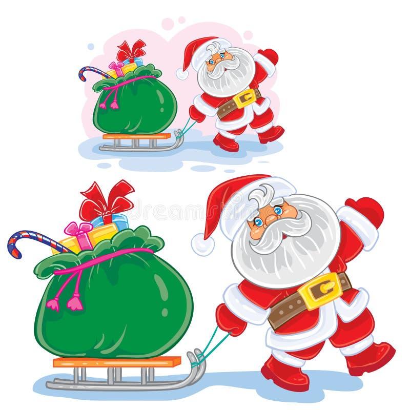 Vector рождество зимы, тяги Санта Клауса иллюстрации Нового Года сани с сумкой подарков иллюстрация вектора