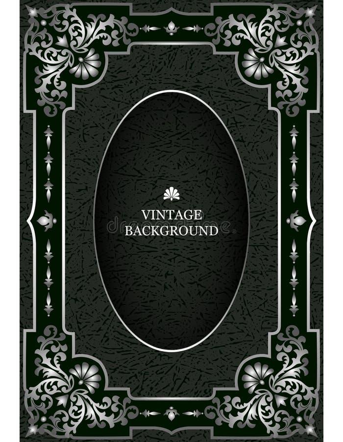 Vector роскошная винтажная граница в стиле барокко с серебряной рамкой цветочного узора Модель-макет для обложек книги, старых ст иллюстрация вектора