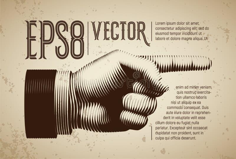 Vector рука с указывать палец в линии стиле гравировки бесплатная иллюстрация