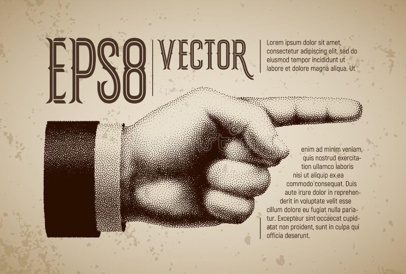 Vector рука с указывать палец в стиле гравировки бесплатная иллюстрация
