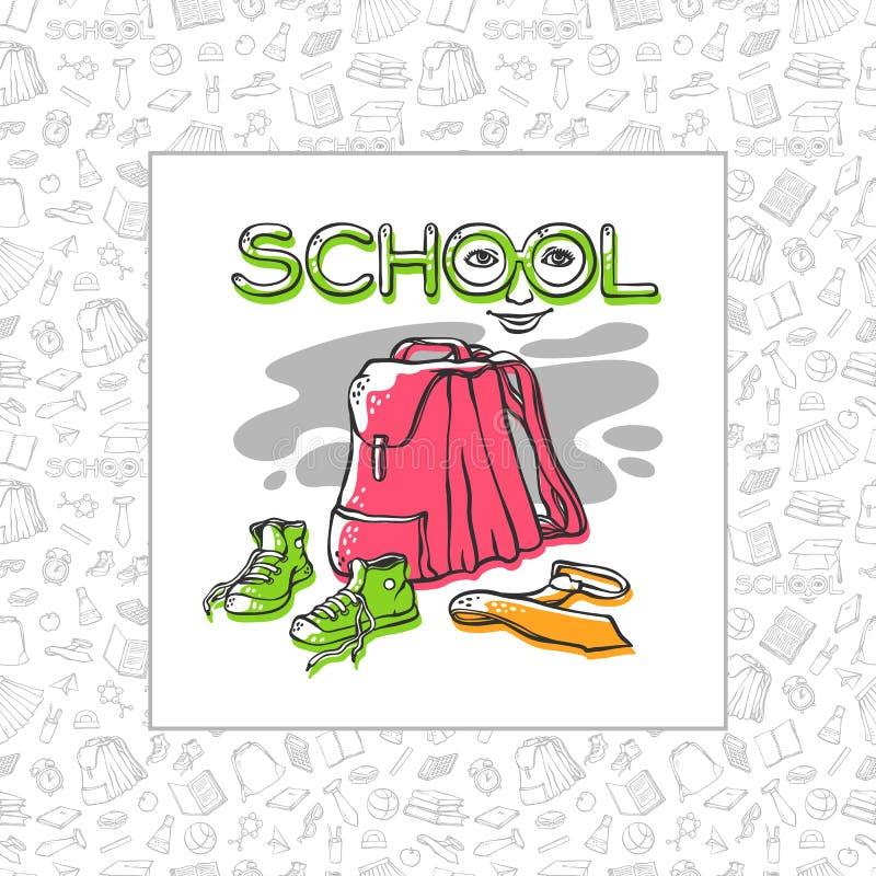 Vector рюкзак, тапки и связь школы карточки или дизайна знамени стильного с безшовными одеждами предпосылки картины иллюстрация вектора