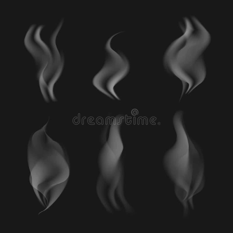 Vector серый реалистический дым на черной прозрачной предпосылке иллюстрация штока