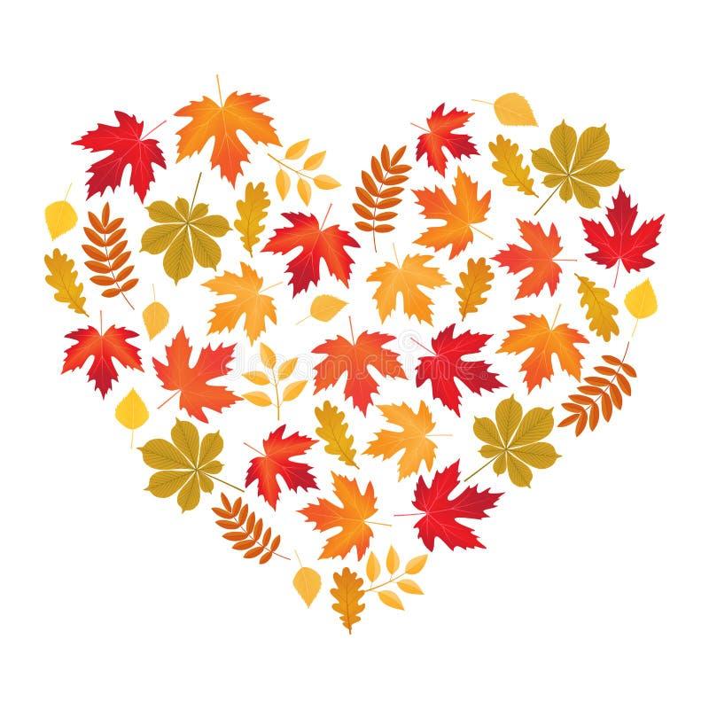 Vector сердце сделанное из листьев осени на белой предпосылке иллюстрация вектора