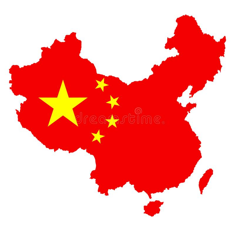 Vector силуэт карты Китая с национальным флагом над картой бесплатная иллюстрация