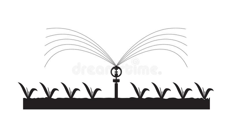 Vector система водообеспечения автоматических спринклеров для заводов, ферм, садов иллюстрация вектора