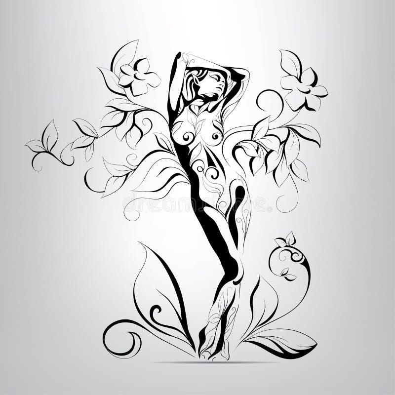 Vector силуэт девушки в листьях иллюстрация вектора