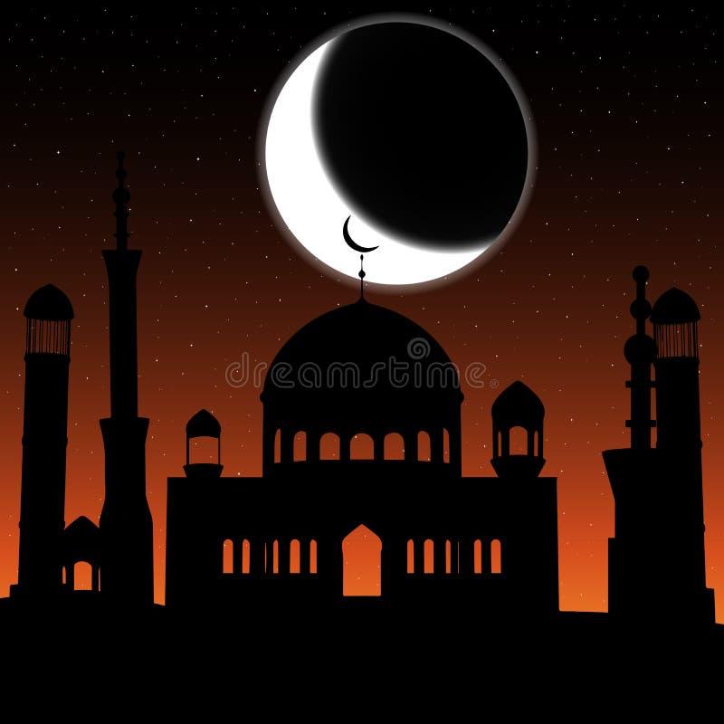 Vector силуэт мечети в ночном небе с серповидными луной и звездами иллюстрация вектора