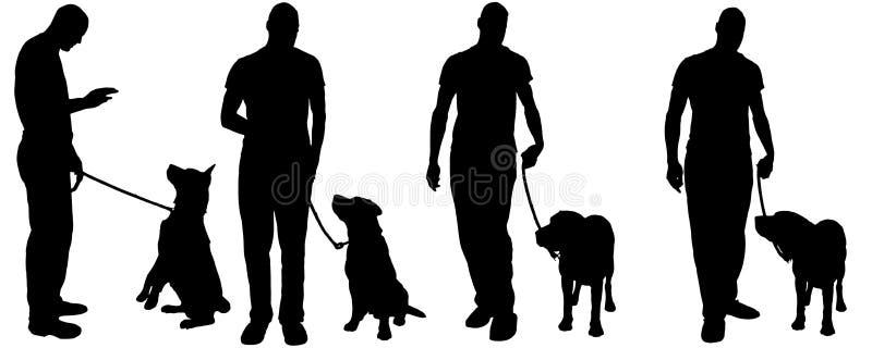 Vector силуэт человека с собакой иллюстрация штока