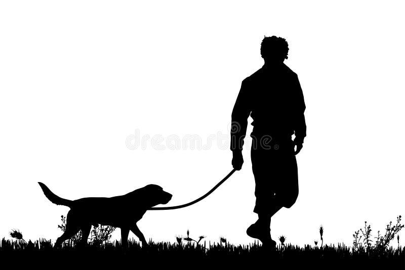Vector силуэт человека с собакой бесплатная иллюстрация