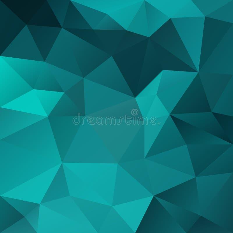 Vector скачками полигональная квадратная предпосылка - картина треугольника низкая поли - голубой зеленый цвет, aqua, бирюза, цве иллюстрация штока