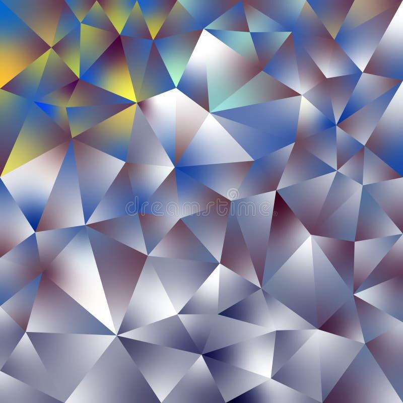 Vector скачками полигональная квадратная предпосылка - картина треугольника низкая поли - голографические золото, серебр, желтый  бесплатная иллюстрация