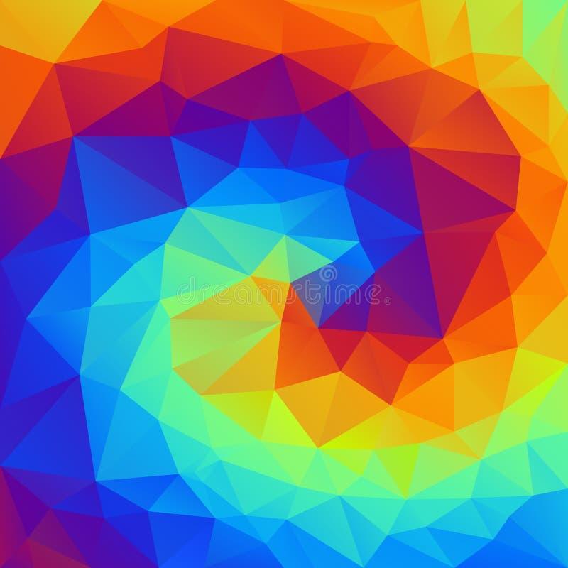 Vector скачками полигональная предпосылка - картина треугольника низкая поли - живая спираль радуги - полная цветовая гамма иллюстрация вектора