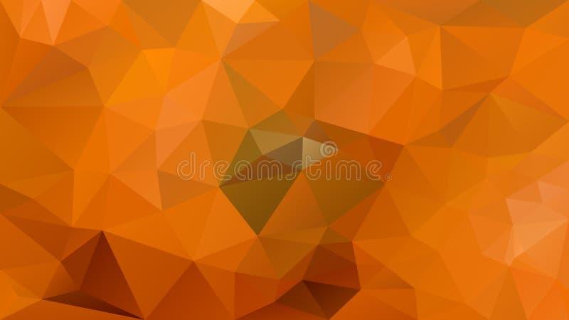 Vector скачками полигональная предпосылка - картина треугольника низкая поли - апельсин тыквы осени и зеленый цвет иллюстрация вектора
