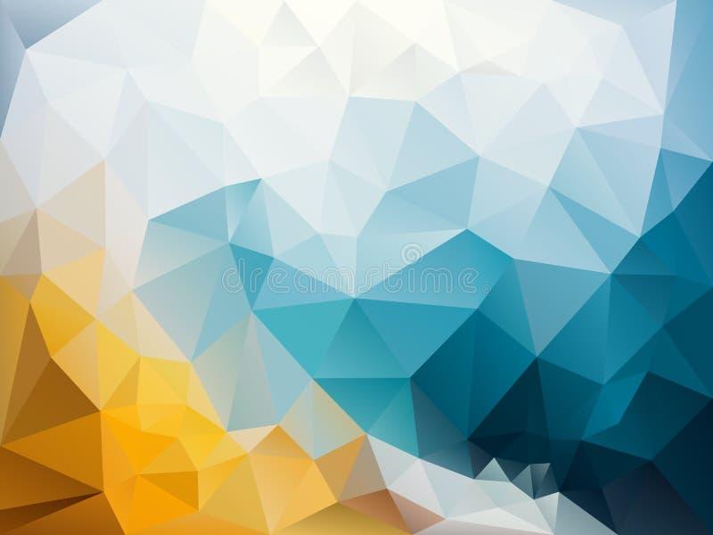 Vector скачками предпосылка полигона с картиной треугольника в небесно-голубом, зашкурьте апельсин и заморозьте белый цвет иллюстрация вектора