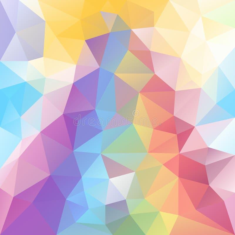 Vector скачками предпосылка полигона с картиной треугольника в пастельном полном цвете радуги спектра с отражением иллюстрация вектора