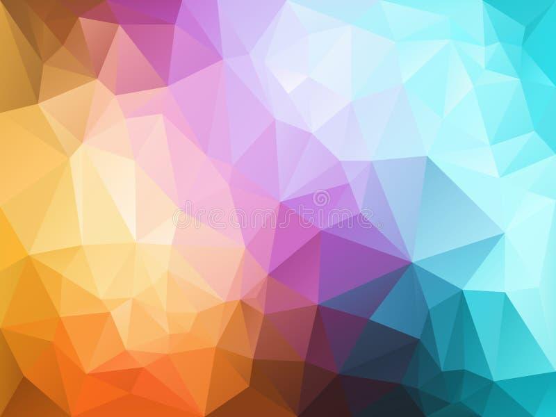 Vector скачками предпосылка полигона с картиной треугольника в светлом пастельном полном цвете спектра иллюстрация вектора