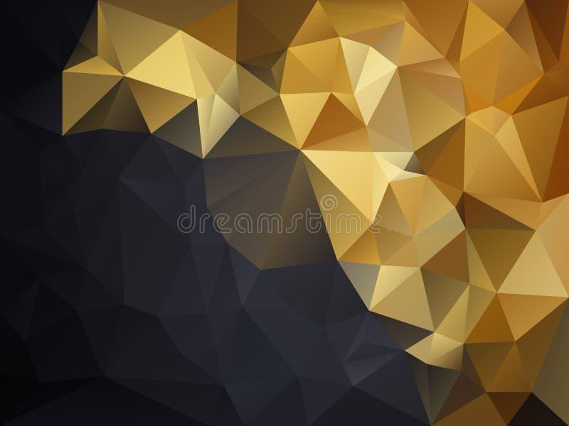 Vector скачками предпосылка полигона с картиной треугольника в цвете золота желтом и черном сером - раскосном градиенте иллюстрация штока