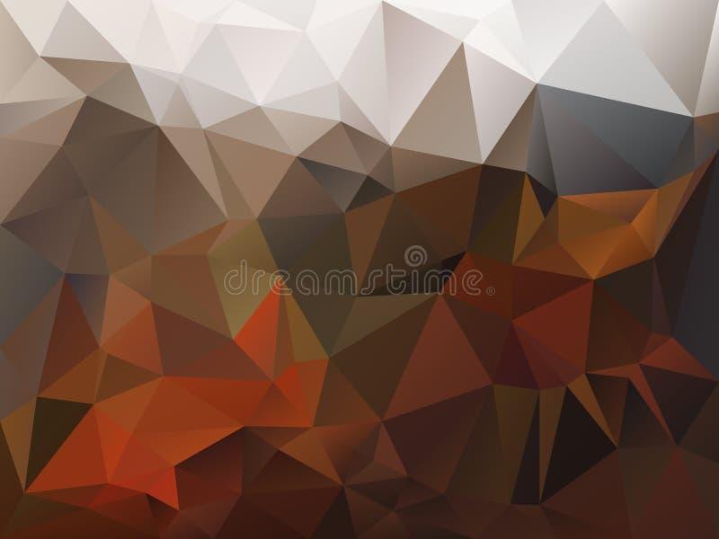Vector скачками предпосылка полигона с картиной треугольника в цвете коричневого цвета, апельсина, бежевых и серых осени иллюстрация штока