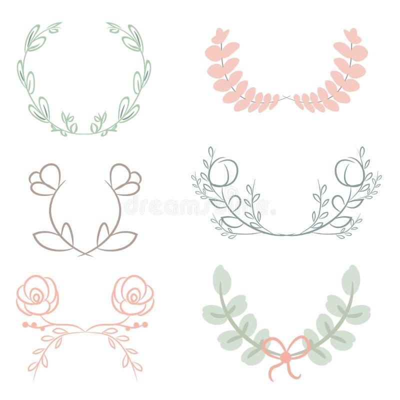 Vector собрание лавров, флористических элементов и знамен бесплатная иллюстрация
