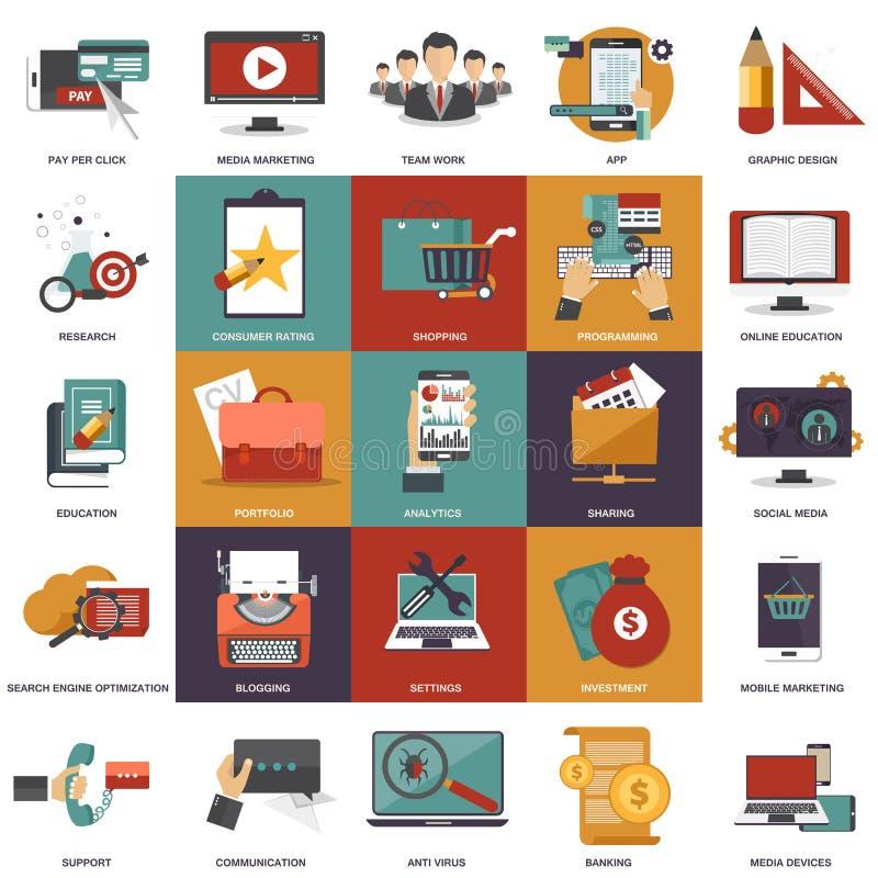 Vector собрание плоских и красочных концепций дела, маркетинга, финансов, образования и технологии бесплатная иллюстрация