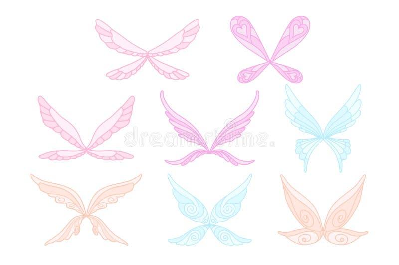 Vector собрание розовых, голубых и фиолетовых крылов волшебства феи s Декоративные элементы для детей s записывают, открытка, печ бесплатная иллюстрация