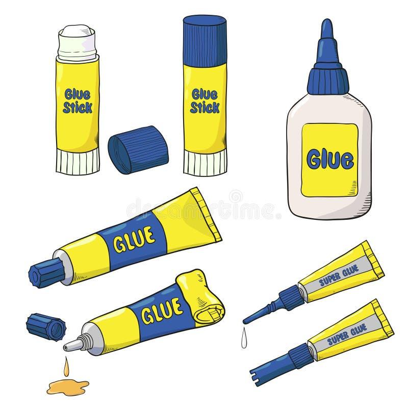 Vector собрание трубок, бутылки и ручки клея изолированных на белизне бесплатная иллюстрация