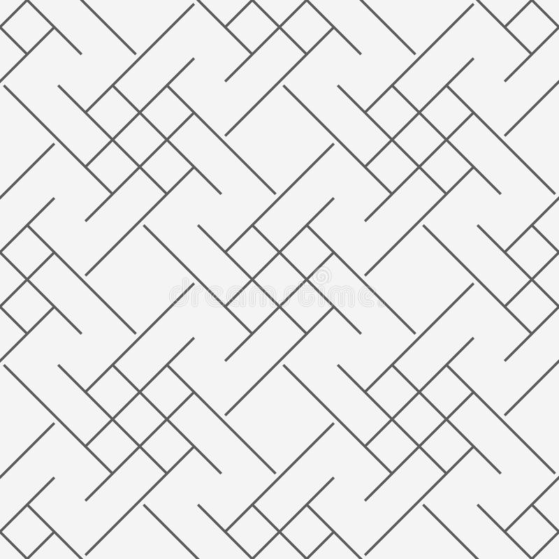 Vector современная безшовная картина trippy, черно-белая абстрактная геометрическая линия предпосылка геометрии, выровняйте monoc бесплатная иллюстрация