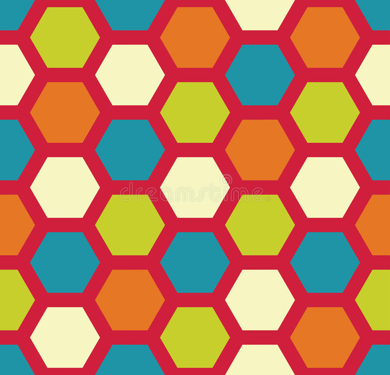 Vector современная безшовная красочная картина шестиугольника геометрии, конспект цвета иллюстрация штока