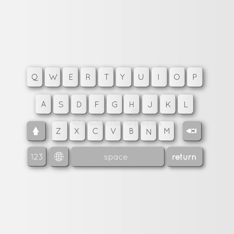 Vector современная клавиатура smartphone, кнопок алфавита иллюстрация штока