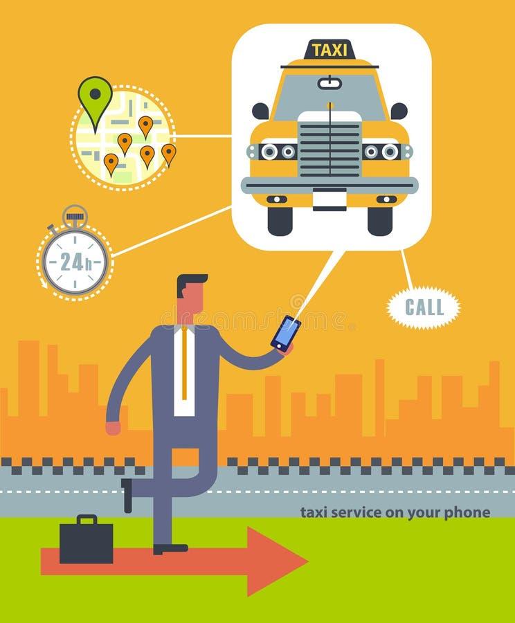 Vector современная плоская творческая иллюстрация концепции на сервисном приложении такси дела иллюстрация штока