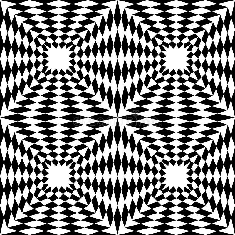 Vector современные безшовные квадраты 3d картины геометрии, черно-белый конспект бесплатная иллюстрация
