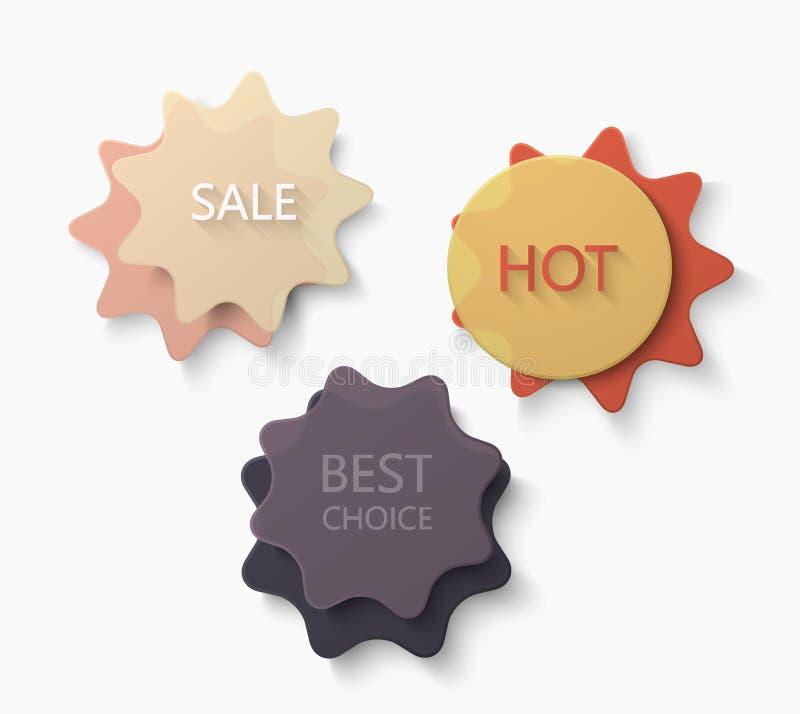 Vector современные большие знамена продажи и наилучшего предложения, лоснистый ярлык звезды иллюстрация штока