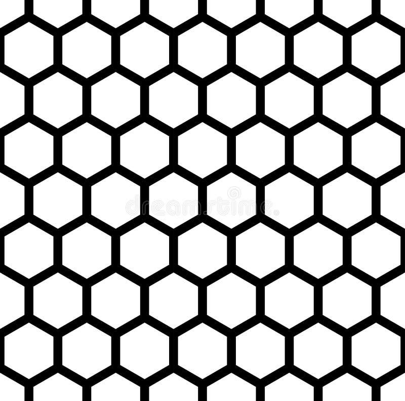 Vector современный безшовный шестиугольник картины геометрии, черно-белый конспект сота бесплатная иллюстрация