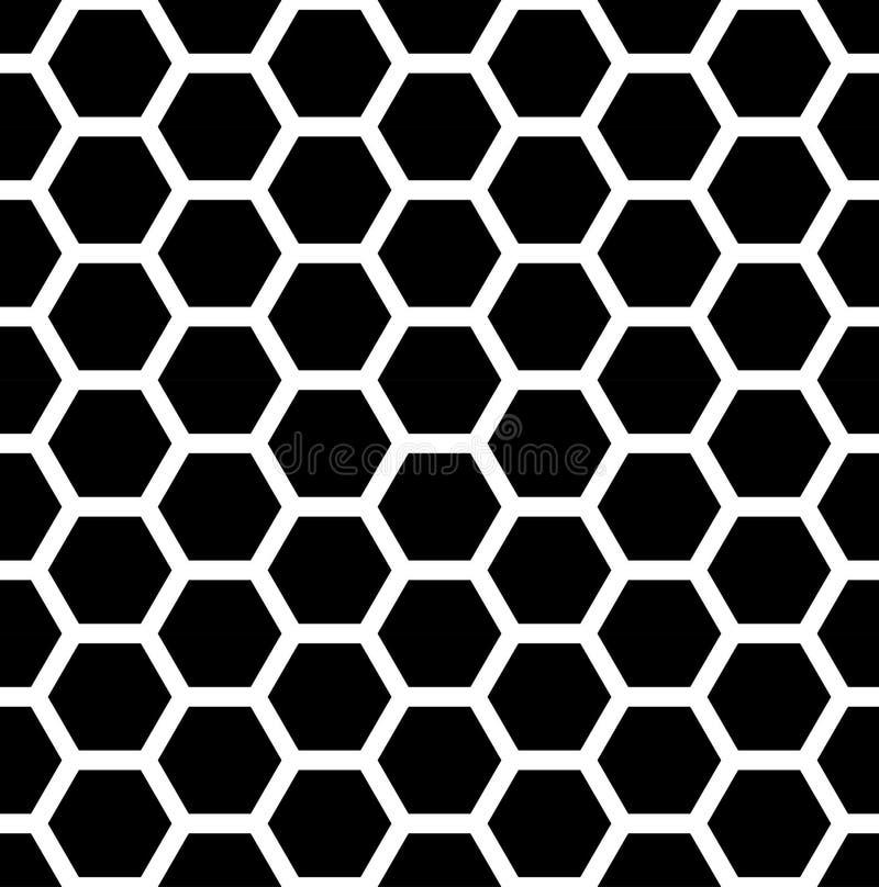Vector современный безшовный шестиугольник картины геометрии, черно-белый конспект сота иллюстрация вектора