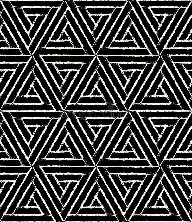 Vector современный безшовный grunge шестиугольника картины геометрии, черно-белый конспект иллюстрация штока