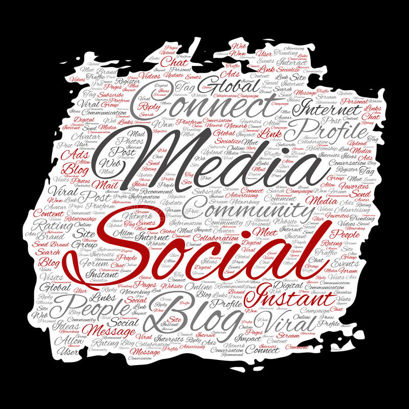 Vector социальные средства массовой информации сеть или облако слова технологии маркетинга сети связи иллюстрация штока