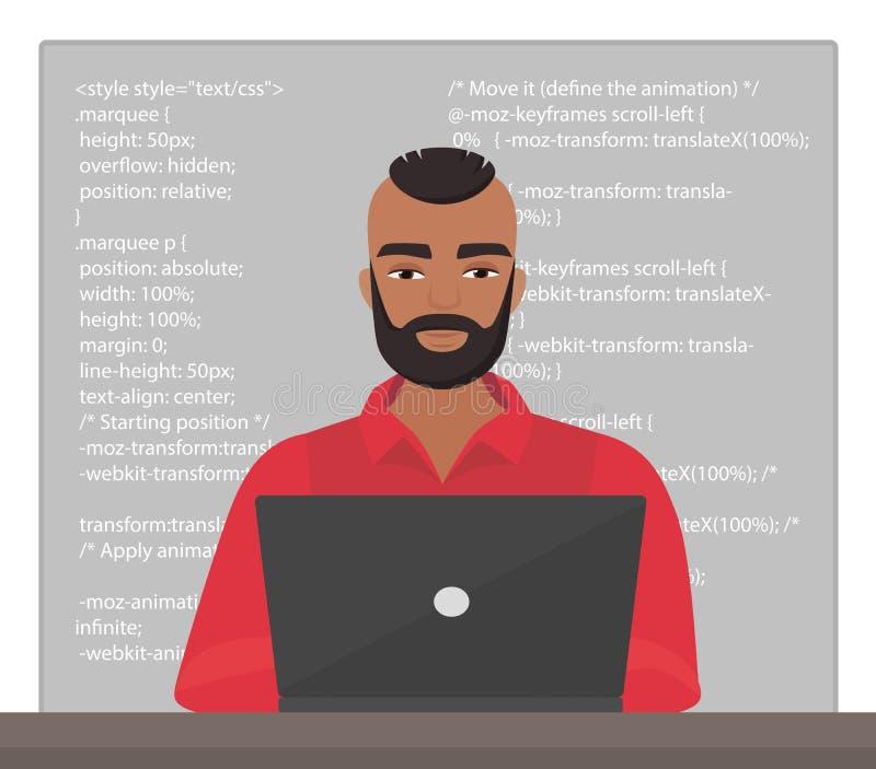 Vector стильный программист чернокожего человека сидя на настольном компьютере и работая на компьтер-книжке с кодом Профессиональ бесплатная иллюстрация